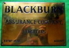 "c1900 Brass Bronze Blackburn Auurance 1839 Sign Plaque  10.5"" X 7""   1 Kilo"