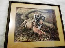 Tiger Cub signed Print by Charles Frace 1975 Plate #XVI Framed under Glass