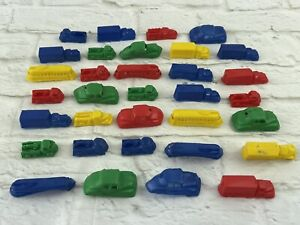 LOT of 33 Vtg Plastic Toys VEHICLES 1950s 60s CAR TRUCK TRAIN BUS TOW DIME STORE