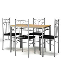 5 Piece Dining Set Table & 4 Chairs Kitchen Breakfast Furniture with Metal Legs