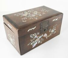 Antique Chinese or Vietnamese Mother of Pearl Abalone Inlaid Box Rosewood