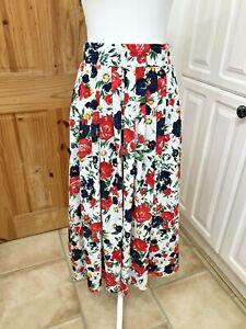 Vintage 1980s JJACQUES VERT Womens White Floral Swishy Skirt With Pockets UK 12