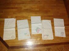 New listing Vintage Lot of 5 cotton Cloth, embroideredTea Towels, whites flour sack, .aging