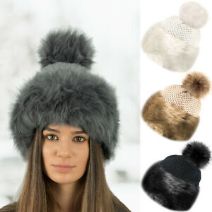 Faux Fur Trim Knitted Pom Pom Beanie Bobble Hat with Soft Cosy Fleece Lining