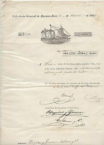 Argentina  1858 postal revenue received of page to maritime navigation rights R!