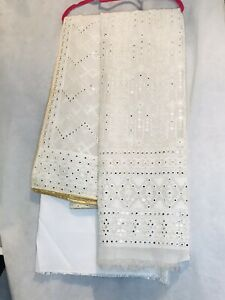 Unstitch Cotton Net Shirt And Dupatta Bollywood Party Wear Mirror Work