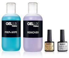 Bluesky Top and Base Coat + Salon System Gellux Profile Prep&Wipe + Remover