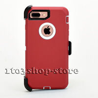 iPhone 7 Plus iPhone 8 Plus Defender Hard Shell Case+Holster Belt Clip Red White