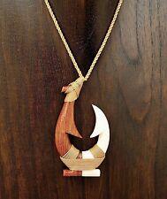 Large Hand Carved Koa and Buffalo Bone from Hawaii Fish Hook Necklace