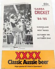.1984 - 1985 CRICKET PROGRAMME QLD v WEST INDIES, THE GABBA.
