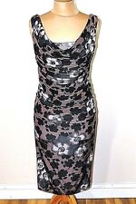 A11 Womens Phase Eight Joanna  Multi Print Ruched Evening Dress Uk Size 10