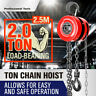 2 Ton Block and Tackle 2.5M Chain Block Hoist Crane Chain Lifting Pulley Tool