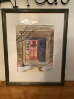 Handsigned Framed, Matted Watercolor Painting Front Door Christmas Holiday Theme