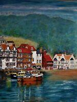 "Original oil painting, harbor scene, signed by Nalan Laluk: ""English Harbor"""