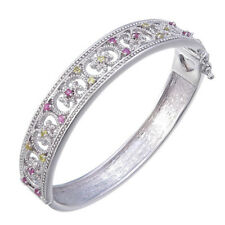 Rhodium Plated Multi Sapphire Bangle (0.65 CT)