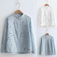 Women Fashion Long Sleeve Print Button Korean Shirt Casual Loose Blouse Tops