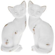 White Cat Statue Ornament Distressed Finish Shabby Chic Figurine