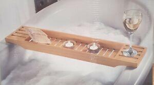 New Bath BambooTray Caddy Over Bathtub Rack Shelf Phone Wine Glass Soap Holder
