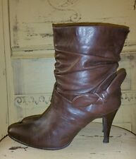 VINTAGE BOSETTINI SPANISH HIGH HEEL SOFT LEATHER BROWN SLOUCHY ANKLE BOOTS 9.5 M