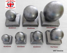 "Square Metal Fence Gate Post Cap Caps Flange From 42 mm to 122mm ""Ball Top"""