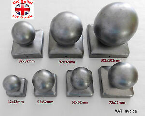 """Square Metal Fence Gate Post Cap Caps Flange From 42 mm to 122mm """"Ball Top"""""""