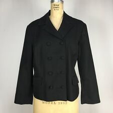 New Talbots Womens Size 12 Black Textured Cotton Double Breasted Jacket Blazer