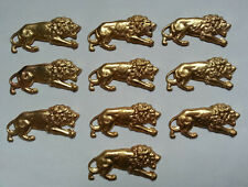 LOT 10 anciens ORNEMENTS FORME LION doré DECORATIONS pour MEUBLES BOITES BIJOUX