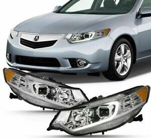 For 2009-2014 Acura TSX LED Chrome TUBE HeadLights HeadLamps Right+Left set pair