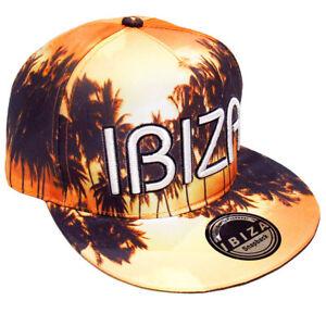Ibiza Snapback Cap Sunrise Palms Trucker Hat Orange Brown Limited Edition