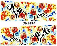 Full Wrap Water Transfers Nail Art Stickers Decals Blue Zebra Print Flowers 1480
