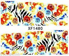 COMPLETA Avvolgere i trasferimenti di acqua Nail Art Adesivi Decalcomanie Blu Fiori Stampa Zebra 1480