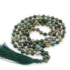 Knot--Green Agate Gem Tibet Buddhist Prayer Beads Mala Necklace108 6mm