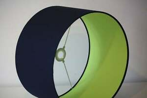 Lampshade, Indigo  blue cotton with lime green cotton lining