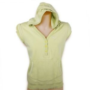 PUMA Women's Yellow Athletic Short Sleeve Hoodie Running Workout Pullover Top