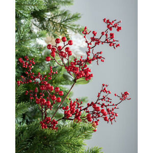 Artificial Berries Pick Christmas Tree Decoration Long Stem Red 62 cm