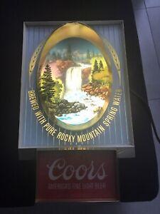 Vintage Coors Beer Lighted Beer Sign - Perma Color - Waterfall