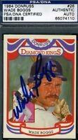 Wade Boggs Signed Psa/dna 1984 Donruss Dk Autograph Authentic