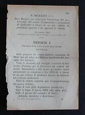 REGIO DECRETO - Autorizzazione inversione del Monte frumentario di Gallicchio-80