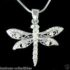DRAGONFLY made with Swarovski Crystal Bridal Wedding Insect Bug Necklace Jewelry