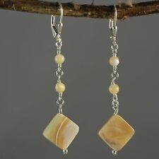 Sterling Silver Caramel Shell  Long Dangle Earrings