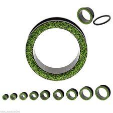 "PAIR-Glitter Green Acrylic Screw On Tunnels 16mm/5/8"" Gauge Body Jewelry"