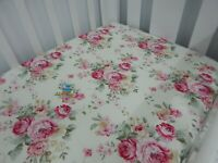 Floral Cot Sheet Fitted Olivia Pure Cotton Fits to 79x130cm mattress