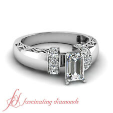 1 Ct Emerald Cut Diamond Contemporary Engagement Rings Pave Set GIA VS2-F
