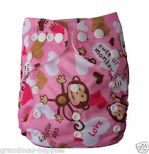 MODERN CLOTH NAPPIES MCN DIAPERS REUSABLE CLOTH NAPPY Girl Monkey SHELL