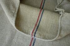 Grain Sack Vintage w/ red & blue stripes handwoven European linen & cotton 19x50