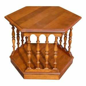 Vintage Ethan Allen American Traditional Maple Hexagon Side End Accent Table