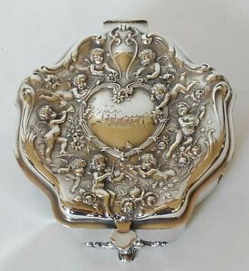 Antique Victorian Jewelry Box Silver Plated Repousse W Cherubs Putti Fabulous!