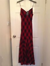 BNWT 100% Auth Ralph Lauren, Ladies Red Checked Maxi Dress. S RRP £410.00