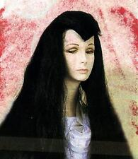 MRS DRACULA VAMPIRE HORROR Womens Ladies Long Black HAIR WIG COSTUME New