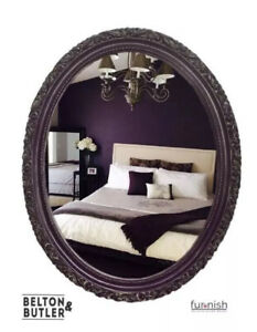 Hand Painted Purple Oval Ornate Carved Mirror with Bronze Glazed Detailing